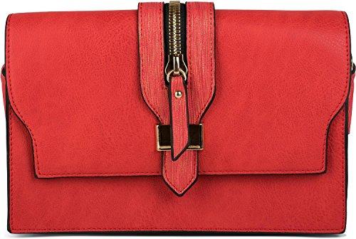 et dessus Rouge main Rouge femme pochette 02012157 fermeture sac avec sac boucle bandoulière le sur couleur styleBREAKER à éclair qIzgTwqf