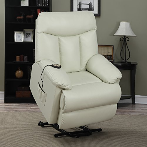 Domesis Renu Leather Wall Hugger Power Lift Chair Recliner, Cream Renu Leather (Recliner Electric Leather)