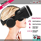 IRUSU PLAY VR PLUS VR headset with headphones- touch button and media controls with mic | 3d virtual reality glasses headset NexGen 2017 Virtual reality glasses UPGRADED 40MM Fully Adjustable virtual reality lenses with Touch button - The best VR headset with HD Resin lenses .Virtual reality glasses calibrated with leading mobile brands.Experience 360 videos, 3D and VR games like never before.