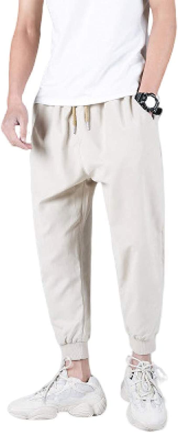 N/ A Pantalones Casuales para Hombre Pantalones de algodón y harén ...