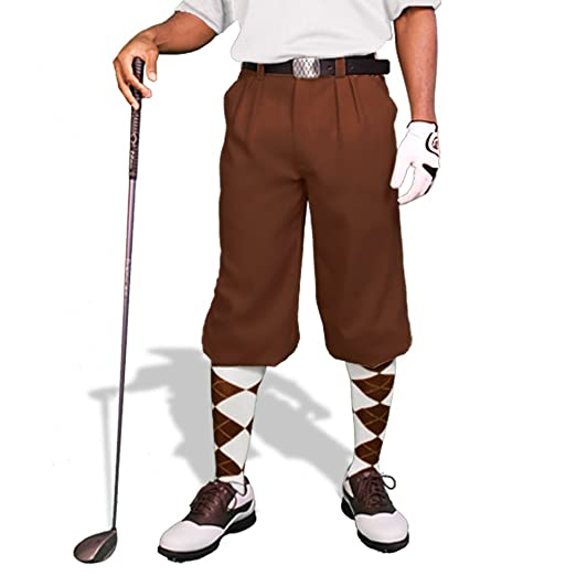 Men's Vintage Pants, Trousers, Jeans, Overalls Brown Golf Knickers: Mens Par 3 - Microfiber $69.95 AT vintagedancer.com
