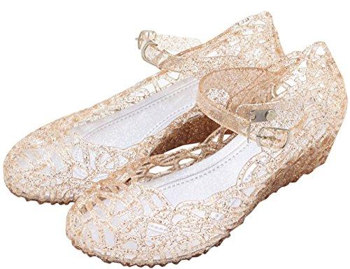 Vokamara Cinderella Girls Soft Crystal Plastic Shoes Hollow Out Wedge Sandal Gold 33 ()