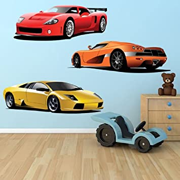 Large Set Of Sports Car Stickers, Boys Removable Wall Decals,Large Racing Car  Wall