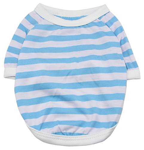 QiCheng&LYS Pet Dog Clothes Puppy Classic Vest Striped T-shirt Short sleeves Summer Apparel with 4 Colors Available (S, (4 Dog T-shirt)