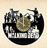 Walking Dead zombie vinyl wall clock - handmade artwork unique home bedroom living kids room nursery wall decor great gifts idea for birthday, wedding, anniversary - customize your clock (Gold/White)