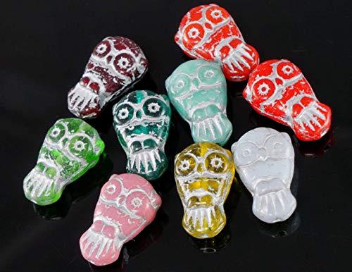 (10pcs Mix Silver Multicolor Czech Glass Owl Beads Bird Animal Halloween 18mm x 11mm )