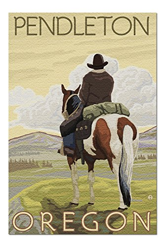 Pendleton, Oregon - Cowboy and Horse (20x30 Premium 1000 Piece Jigsaw Puzzle, Made in USA!) ()