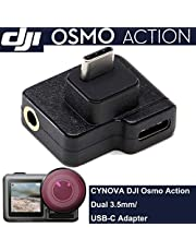 CYNOVA OSMO Action Genuine Dual USB-C to 3.5mm Mic Microphone Adapter Compatible with DJI OSMO Action Accessories