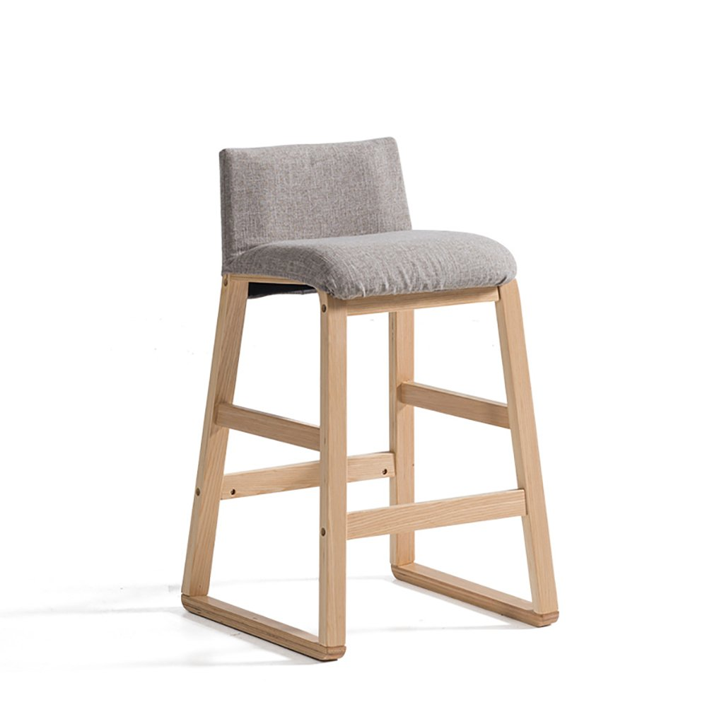 バーツ バースツール、現代の単純な固体木製のバーの椅子、バースツールチェア、フロントデスクの布アートハイチェアサイズ:48 * 48 * 81.5cm バースツール (色 : A) B07DVXWTJJ A A