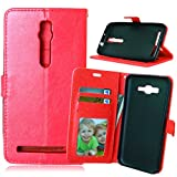 for Asus ZenFone 2 Premium PU Leather Case Pouch, Flip Wallet Case Silicone Cover with Card and Cash Slot for Asus ZenFone 2 5.5 inch ( Color : Red-Asus ZenFone2 5.5 Inch )