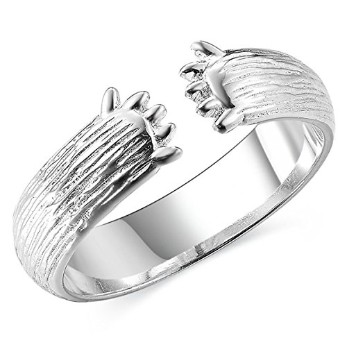 JEWME 925 Sterling Silver Jewelry Women Love Hug Open Rings with Bear Claws Paws ()