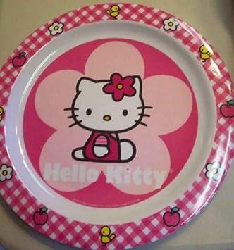 Plato de melamina con diseño de Hello Kitty en color rosa para niños Sanrio, diámetro de 22 cm: Amazon.es: Hogar
