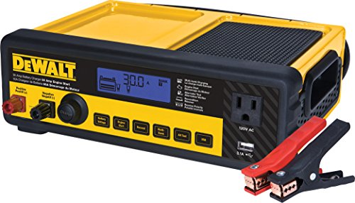 DEWALT DXAEC80 30 Amp Bench Battery Charger: 80 Amp Engine Start, 2 Amp Maintainer, 120V AC Outlet, 3.1A USB Port, Battery Clamps (Black Decker Car Battery Charger)