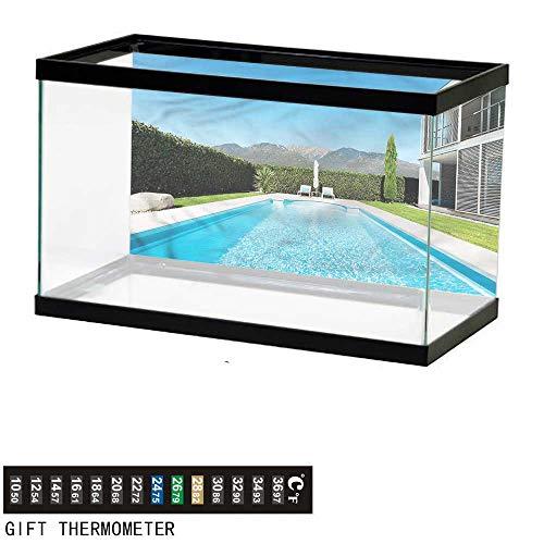 - Suchashome Fish Tank Backdrop Modern,Modern Villa with Pool View,Aquarium Background,24