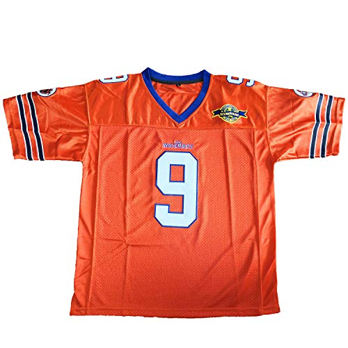 Bobby Boucher #9 The Waterboy Adam Sandler Movie Mud Dogs Bourbon Bowl Football Jersey (Orange, Medium)