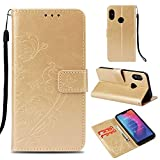 Ostop Xiaomi Mi A2 Lite Wallet Case,Redmi 6 Pro Flower PU Leather Case,Kickstand Card Holder Slots Magnetic Slim Flip Folio Cover Butterfly Floral Embossed Pattern,Gold