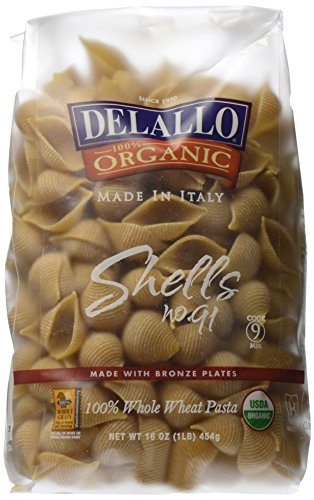 Delallo Organic Whole Wheat Pasta Shells No. 91, 1 Lb ()