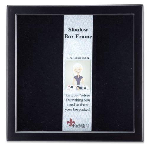 Lawrence Frames 790088 Black Wood Shadow Box Picture Frame, 8 by 8-Inch - Satin Inner Lining