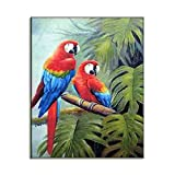HD Art Picture Popular Canvas Print Beautiful Wild Birds Ara Parrots Colorful Jungle Scenery Reproduction Oil Painting Tropical Home Decor D4050