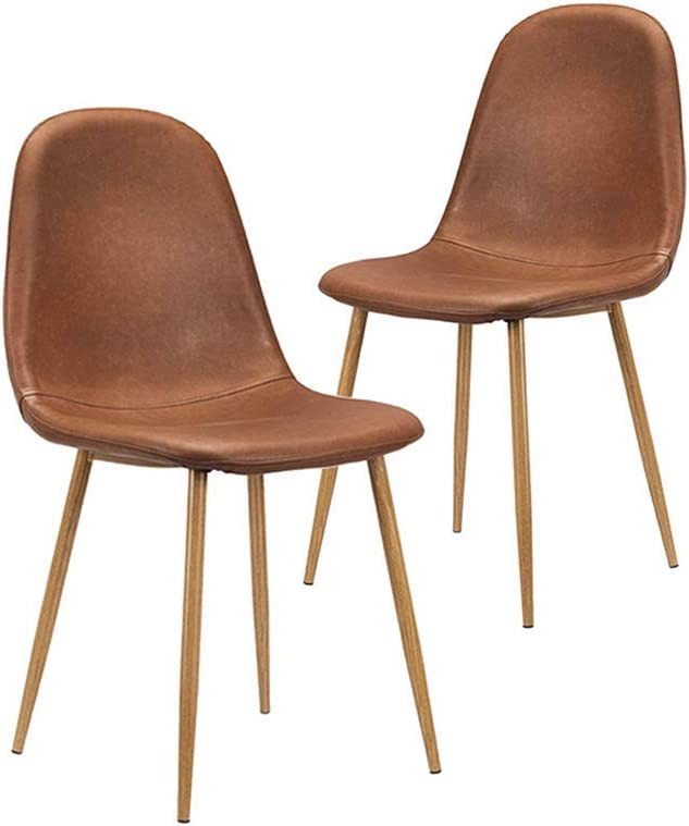 CangLong Washable PU Cushion Seat Back, Mid Century Metal Legs for Kitchen Dining Room Side Chair, Set of 2, Brown