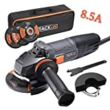 Angle Grinder 4-1/2-Inch 8.5Amp (1020W) 12000RPM with Anti-Vibration Handle, 1 Grinding Wheel,1 Cutting Wheel,1 Flap Disc,2 Wheel Guards,1 Carrying Bag for Grinding/Polishing/Cutting - TACKLIFE | P9AG115