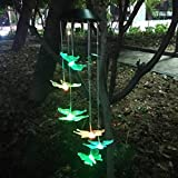 Topspeeder Solar Powered Color-changing Led Butterfly Wind Chimes Multi Solar Powered Mobile Waterproof Automatic Light Sensor Outdoor Decor