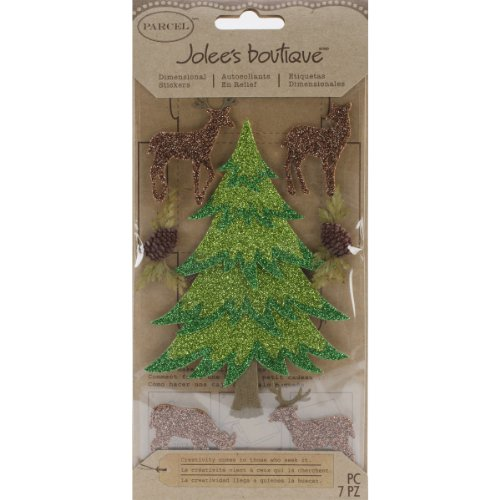 EK Success Brands Jolee's Boutique Dimensional Stickers, Winter Trees with Deer