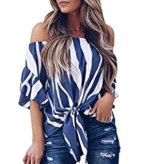 LuckyMore Women Summer Chiffon Blouses Tie Knot Shirts Off Shoulder Tops  This unique off the shoulder tops well with leggings and jeans, trendy and elegant item which is suitable for a casual everyday look and any occasions especially for of...