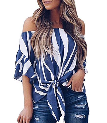 Off Sweet - Women Off Shoulder Blouses 3/4 Sleeve Summer Bohemian Tops Navy Blue XL Plus