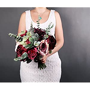 Best Quality Burgundy Pink Wedding Bouquet Roses Eucalyptus 87