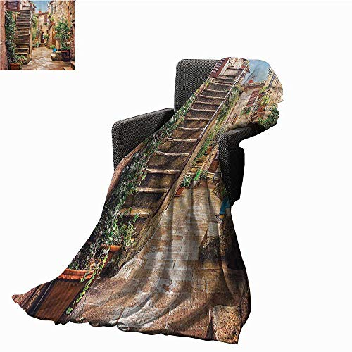 smllmoonDecor Tuscan Decor Decorative Throw Blanket View of an Old Mediterranean Street with Stone Rock Houses in Italian City Rural Culture Print Sofa Chair Blanket 71