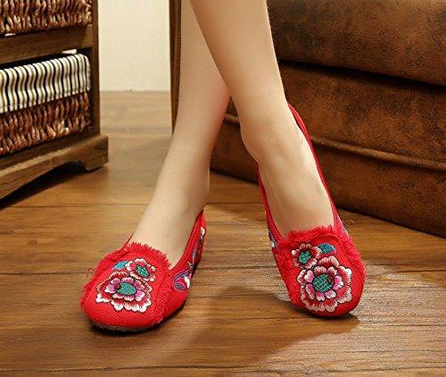 WXT Zapatos bordados, lino, lenguado de tendón, estilo étnico, zapatos femeninos, moda, cómodos zapatos de baile Red
