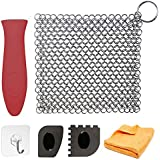 Cast Iron Cleaner Set XL 6-in-1 7x7 Chainmail Scrubber Stainless Steel Cast Iron Cleaning Kit Pan Scraper Plastic Set Tool and Silicone Hot Handle Holder for Kitchen (6 Pack)