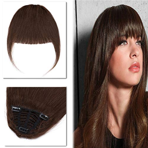 Clip in Human Hair Bangs with Temples One Piece Full Flat Fringe Short Straight Clip on Extensions Hair Piece for Women #4 Medium Brown