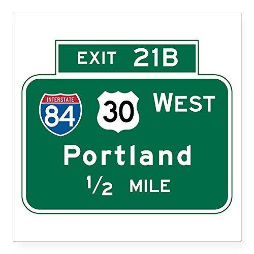 CafePress Portland, OR Highway Sign Square Sticker 3