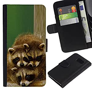 EJOY---La carpeta del tirón la caja de cuero de alta calidad de la PU Caso protector / Samsung Galaxy S6 / --Familia linda del mapache feliz