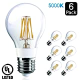 Luxrite LR21248 (6-Pack) 7-Watt Edison LED Filament Light Bulb, 75 Watt ...