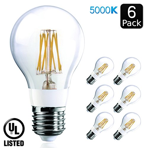 Luxrite LR21248 (6-Pack) 7-Watt Edison LED Filament Light Bulb, 75 Watt Incandescent Light Bulb Replacement, Bright White, 5000K, 700 Lumens, 290° Flood Beam, 80 CRI, E26 Base, UL-Listed (White Incandescent Two Light)