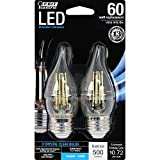 Feit Electric BPEFC60/850/LED/2 Decorative Glass Filament LED Dimmable 60W Equivalent Daylight Flame Tip Chandelier Bulb (Pack of 2), Clear
