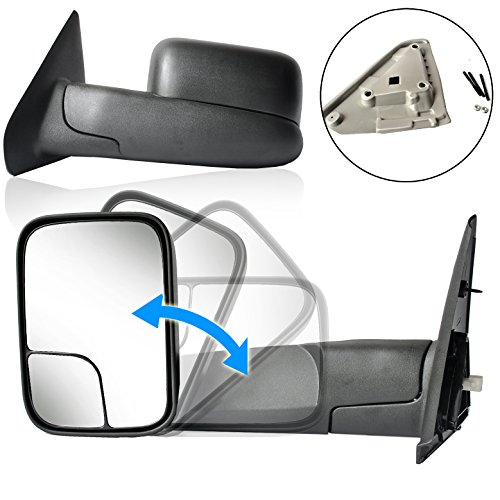 (ECCPP Towing Mirrors Replacement fit for 02-08 Dodge Ram 1500 03-09 Dodge Ram 2500 3500 Pickup Truck Power Heated Tow Folding Side View Black Pair Set Pair Mirrors)