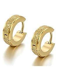 Flongo Men's Classic Stainless Steel Matte Hoop Huggie Stud Earrings