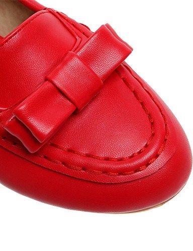 Punta Carrera Flats Redonda de blanco 5 Plano Y casual Oficina rojo Pdx Talón vestido Uk8 Eu42 us10 Zapatos Negro De Mujer 5 Cn43 Black YwqxP08