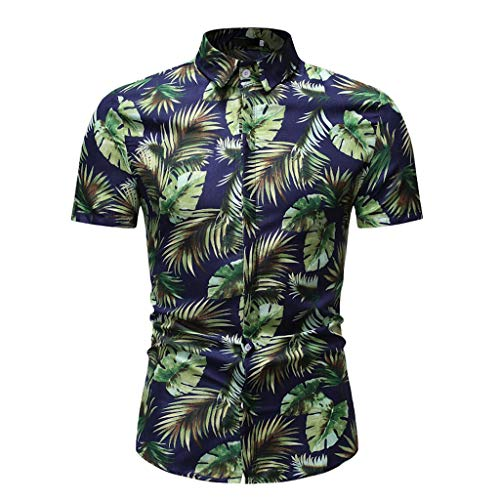 Toimothcn Aloha Shirts Men's Vintage Floral Printed Short Sleeve Top Slim Fit Button Down Hawaiian T-Shirt (Green,L) ()