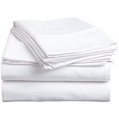 HS Linen Soft & Luxurious 4-Pieces Comfortable Solid Pattern Bed Sheet Set :- White Made from Egyptian Cotton Fits Upto 22  Inches Deep Pocket (500 Thread Count) Queen Size