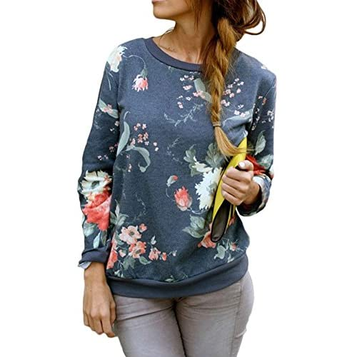 Wholesale FACE N FACE Women's Crewneck Printed Floral Long Sleeve Pullover Sweatshirt free shipping
