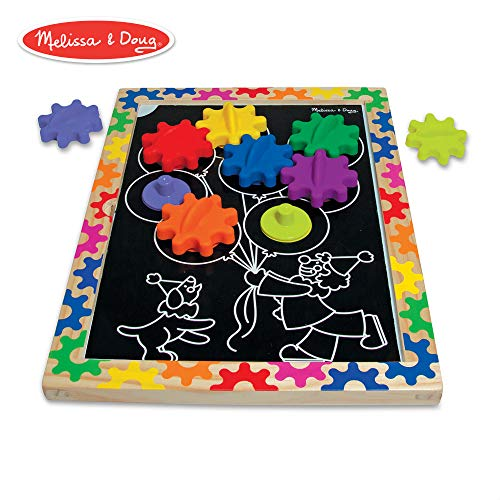 (Melissa & Doug Switch and Spin Magnetic Gear Board - Educational Toy With 8 Gears and 5 Double-Sided Designs)