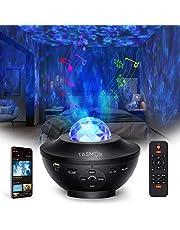 Led Star Projector Light, Galaxy Projector Ocean Wave Nachtlampje, 10 Kleurmodi Maan Nachtkastje Kind Lamp met Ingebouwde 8 verschillende geluiden van de natuur en Bluetooth Muziekspeler/Timer/USB aangedreven