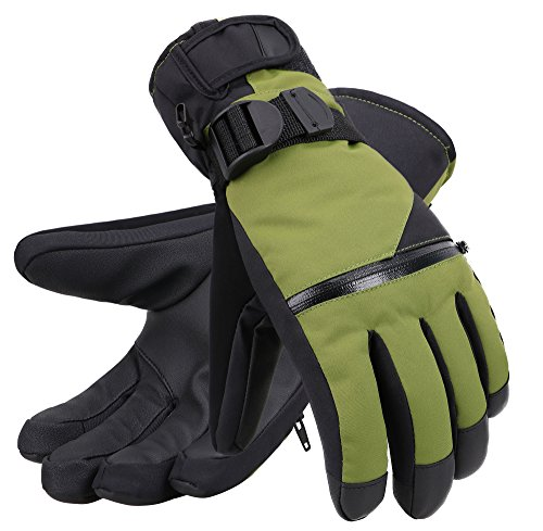 Andorra Men's Classic Touchscreen Ski Snow Gloves with Zippered Pocket,Moss Green,L