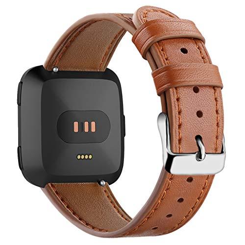 VICCKI New Luxury Leather Band Bracelet Watch Band for Fitbit Versa/Versa Lite ()