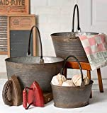 3 Round Buckets with Handles -Primitive Country Home Decor Farmhouse Rare, Limited Vintage